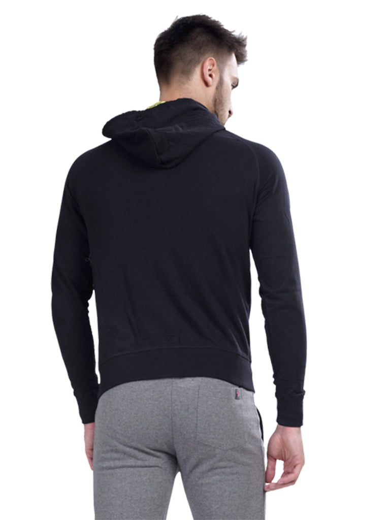 Buy Black Hoodie Jacket With Wrist Cuff For Men Online In India