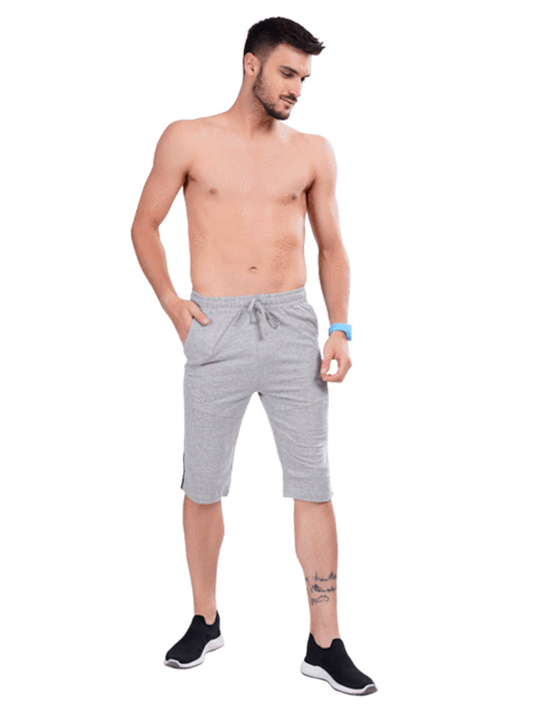 Grey Men's Capri With Contrast piping Online In India