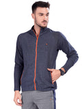 Buy Navy Jacket With Dual Zipper Pocket For Men Online