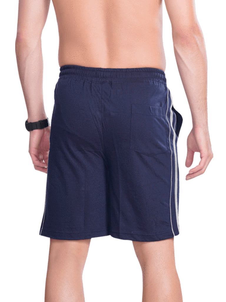 Men Shorts with Contrast Lines- Blue