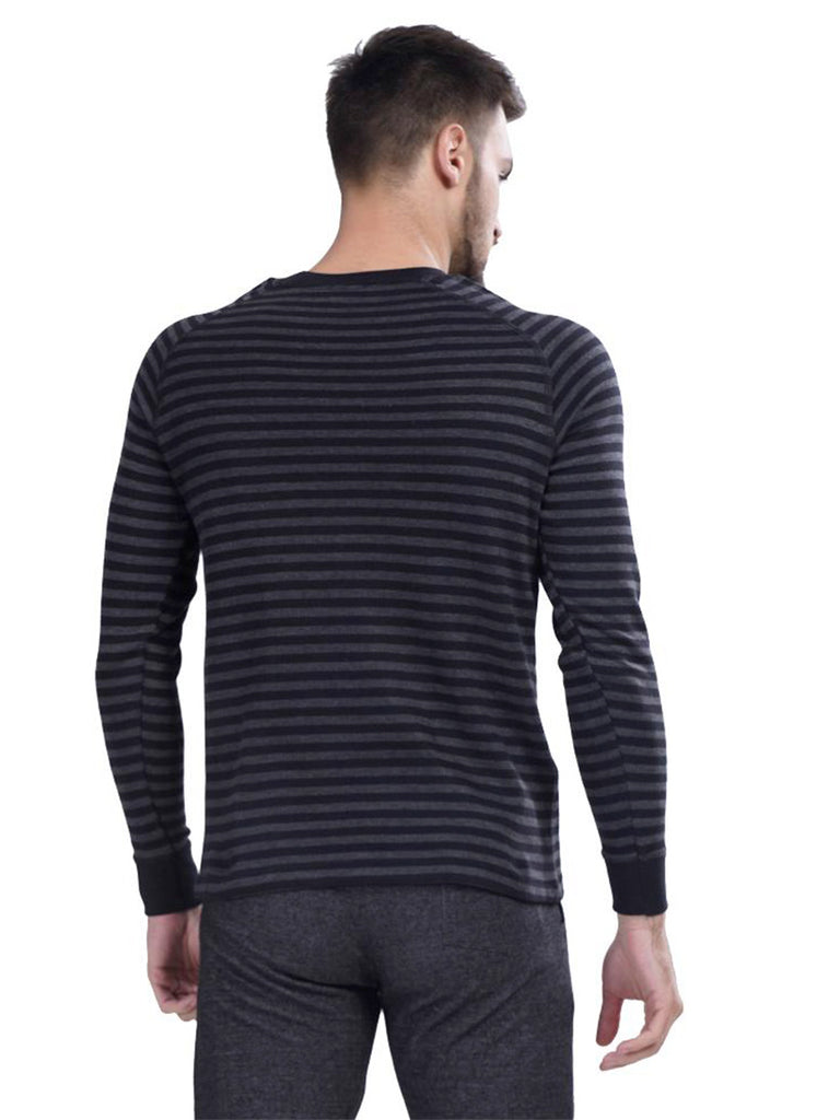 Buy Grey Stripped Pullover T shirt For Men Online In India