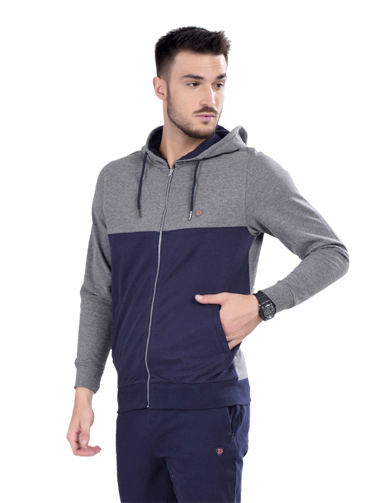 Jacket With Contrast Hoodie- Navy