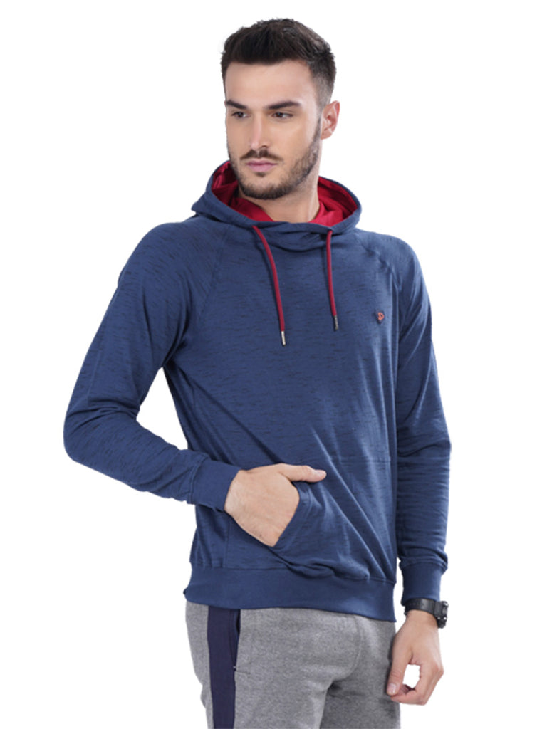 Hooded Sweatshirt with Kangaroo Pocket- Maroon