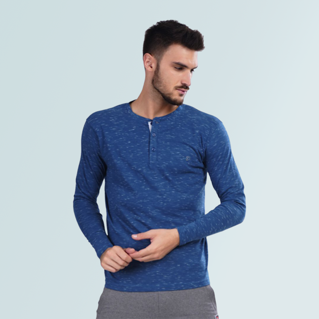 Henley Neck Tshirt for Men- Blue - Sporto
