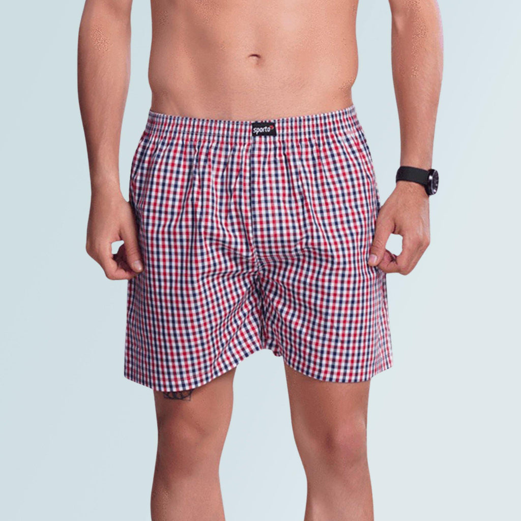 Checks Boxer For Men- White - Sporto