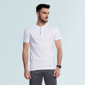 Henley Neck Tshirt for Men- White