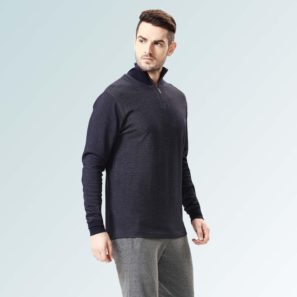 Mock Neck Tee- Navy - Sporto
