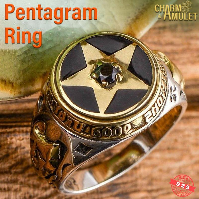 Buy Pentagram Ring Silver Sterling good quality and cheap | Charm and Amulet