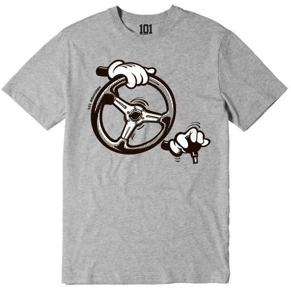 DOWNSHIFTING CARTOON HANDS SHIRT - GREY