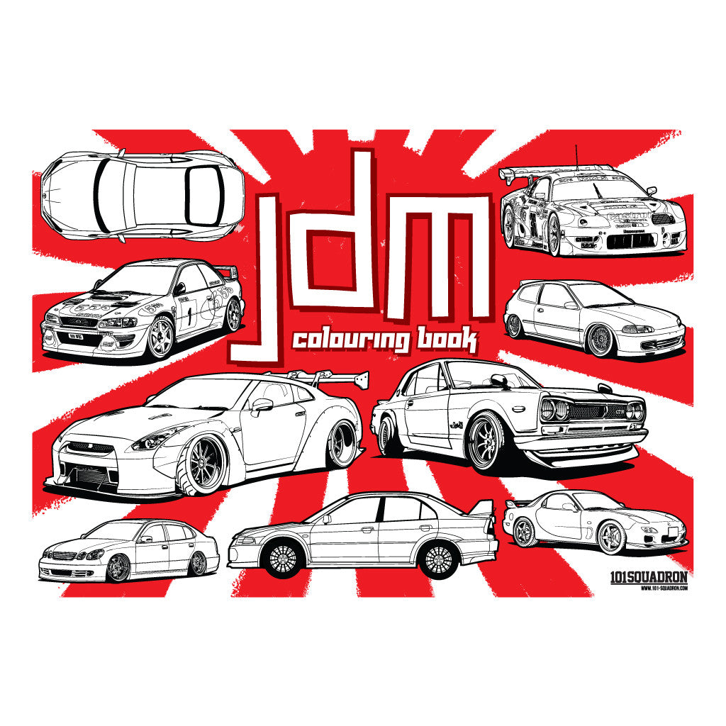 JDM Colouring Book Full List Of Cars