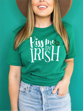 Load image into Gallery viewer, KISS ME I'M IRISH GREEN TEE