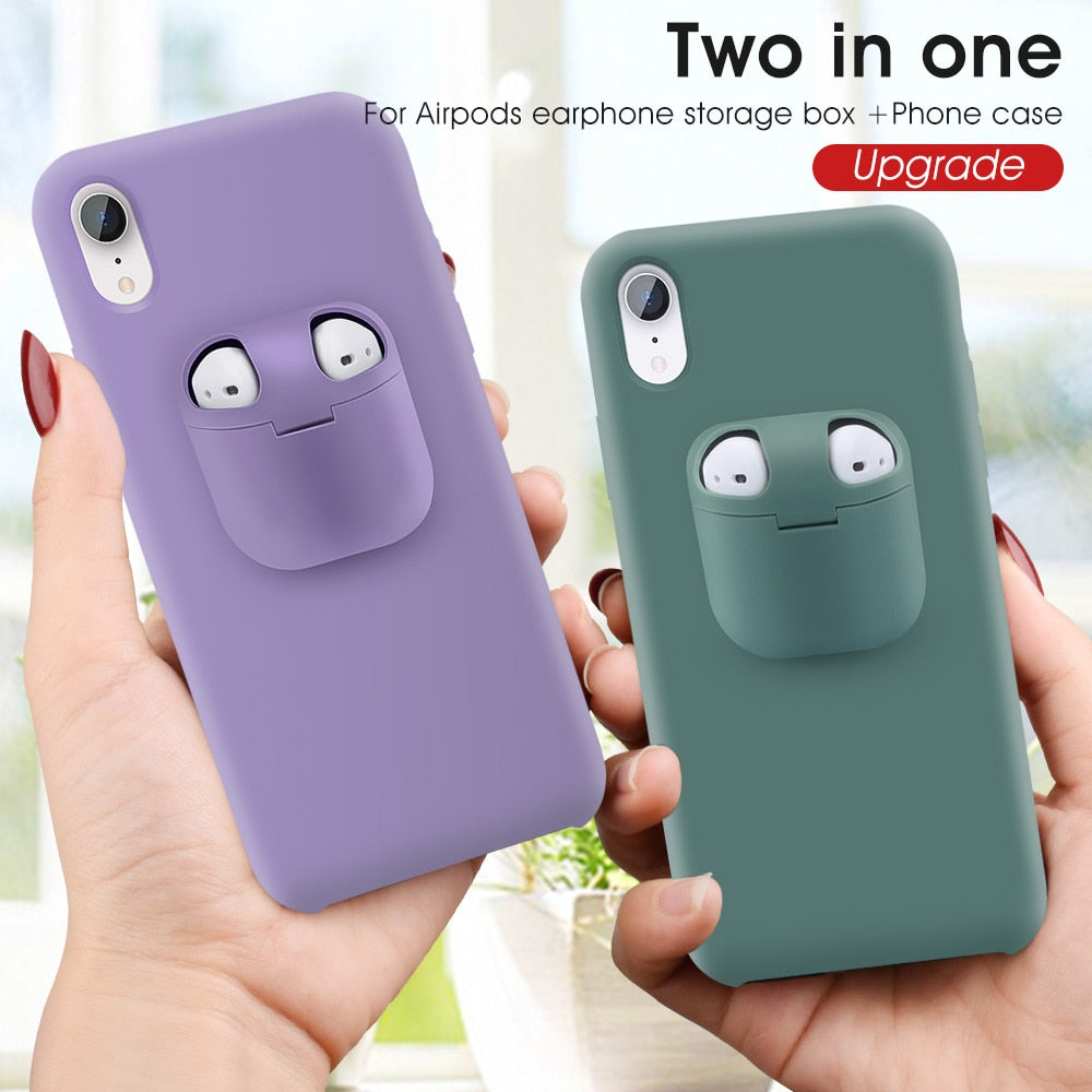 2 in 1 Phone Case Earphone For iPhone