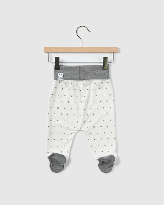 shade footed pants| white print/grey