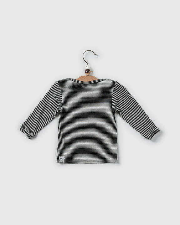 kai lap neck t-shirt | black stripes