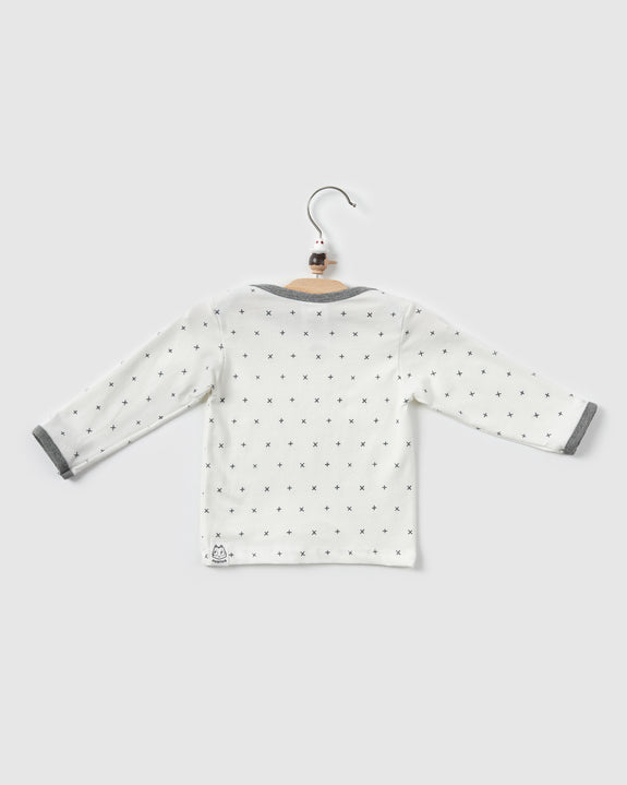 kai lap neck t-shirt | white print