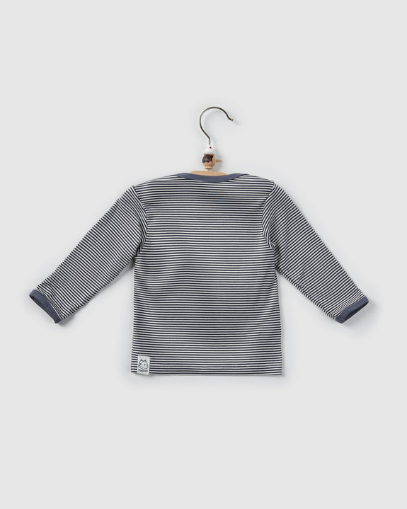 kai lap neck t-shirt | cool grey stripes