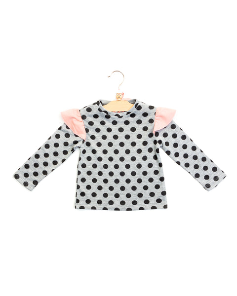 avery top | light grey pois