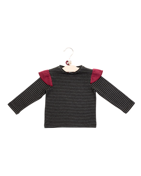 avery top | charcoal stripes
