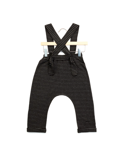 jamie suspender pants| charcoal stripes
