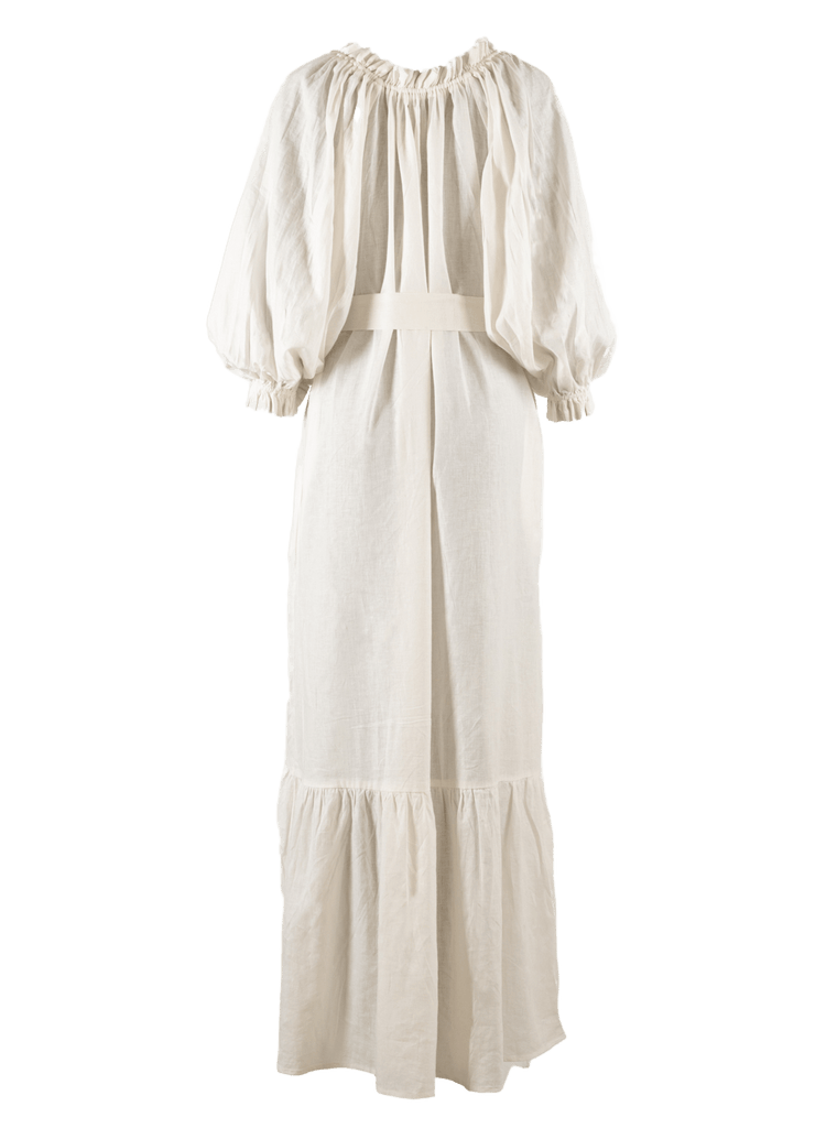 Song Saa Maxi Linen Lounge Dress in Bright White