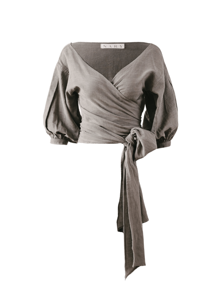 Nary Cotton Slate Gray Wrap Top