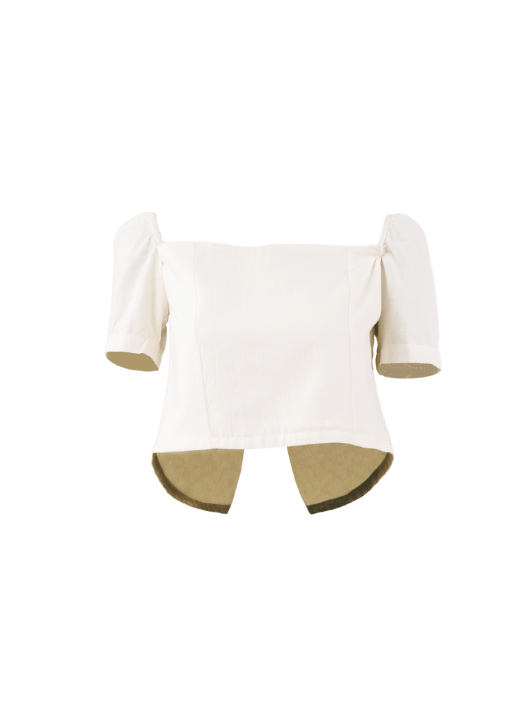 Sopanah Ivory Cotton Crop Top