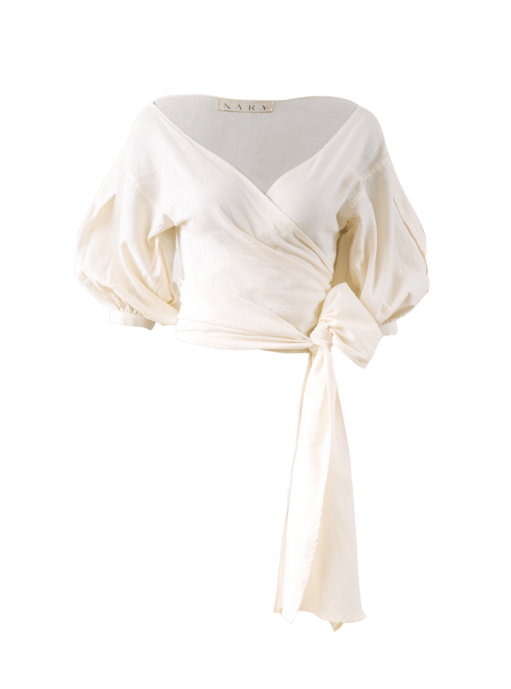 Nary Ivory Cotton Wrap Top
