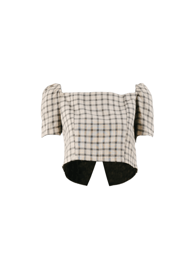 Sopanah Cotton Windowpane Crop Top