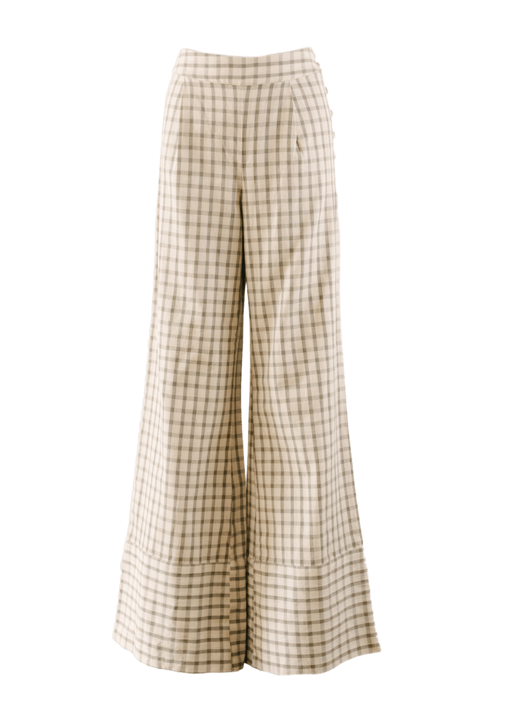 Nary Cotton Windowpane Mid-Rise Flared Pants