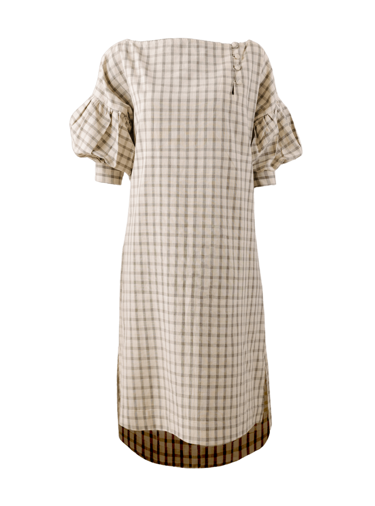 Samphor Windowpane Cotton Shirt Dress