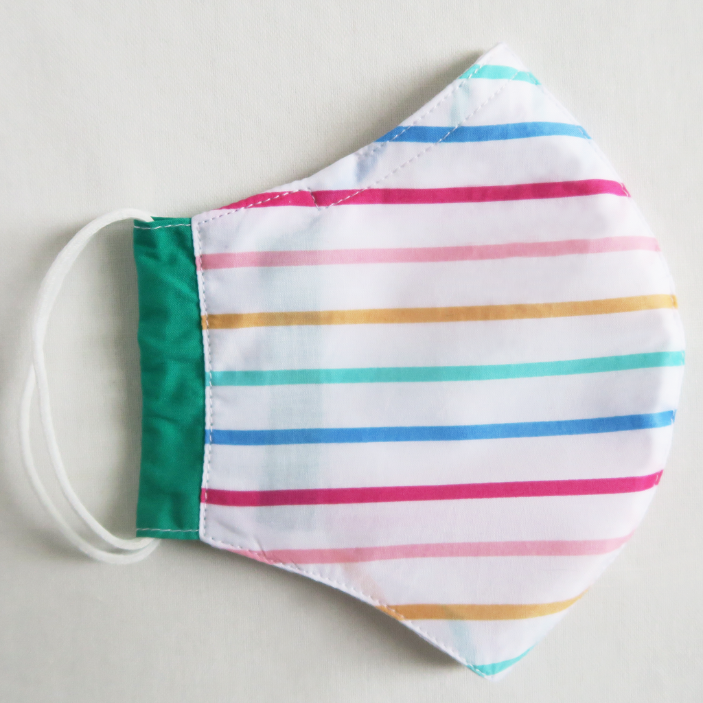 "ខ ""Kha"" Girl's Colorful Stripe Cotton Mask"