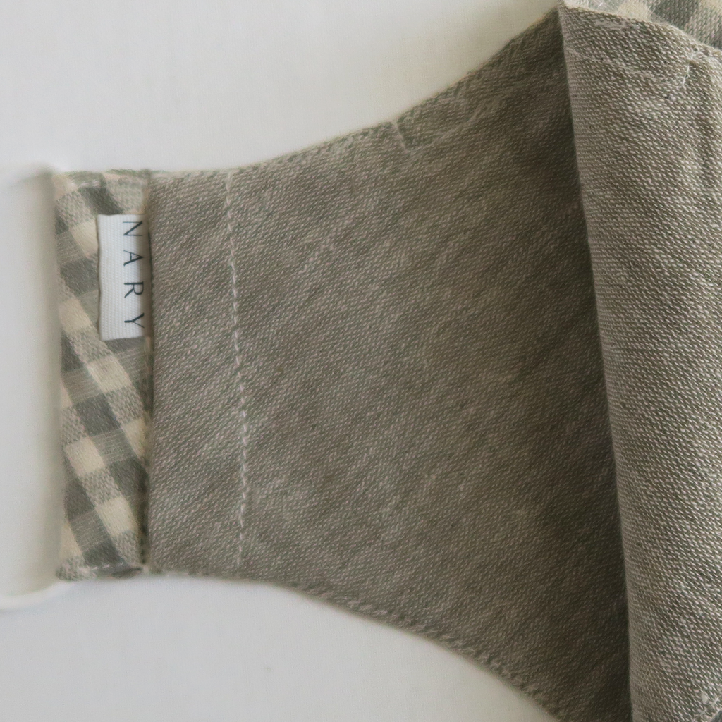 "ទ ""To"" Naturally Dyed Gray Gingham Unisex Cotton Mask"