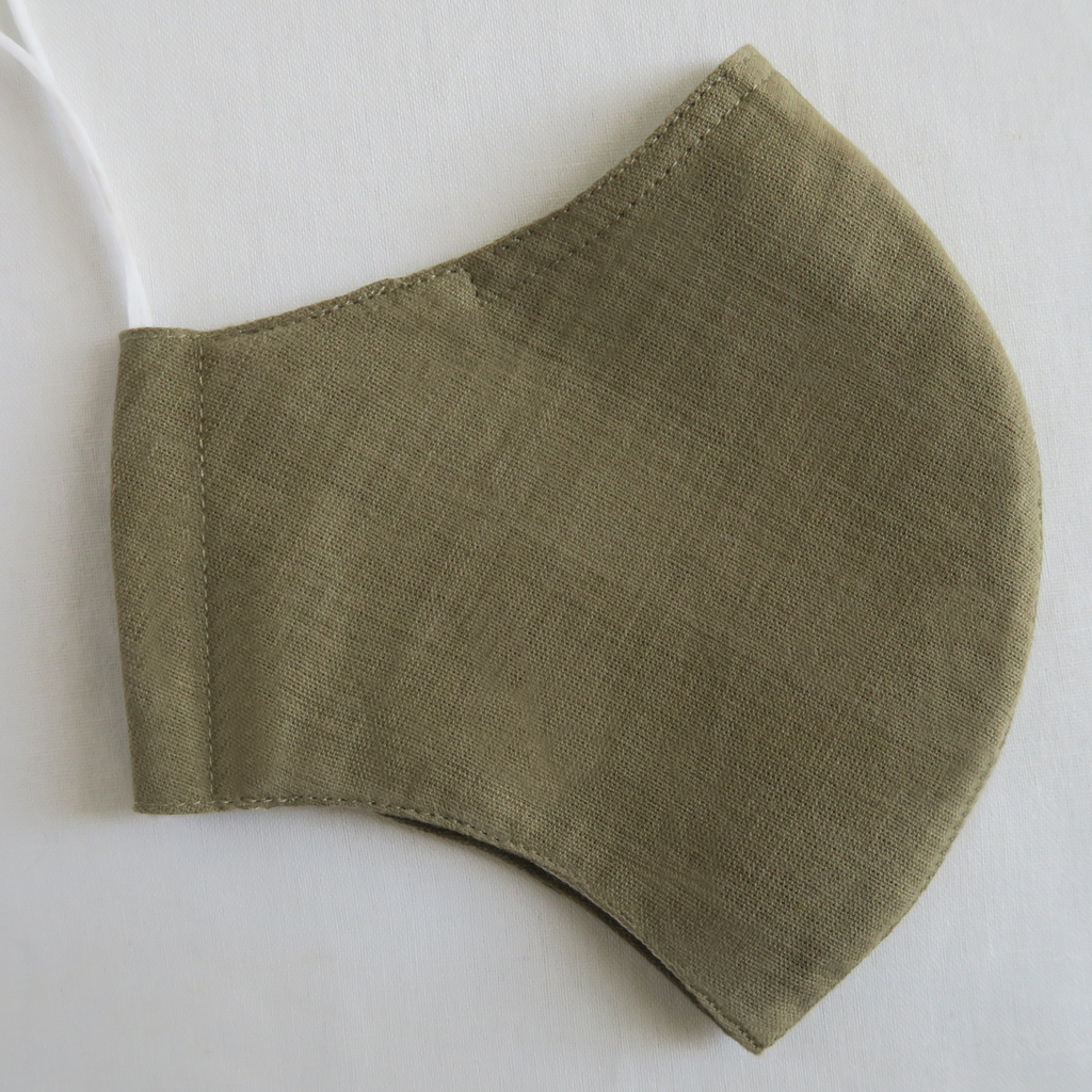 "ផ ""Pha"" Naturally Dyed Army Green Child's Cotton Mask"