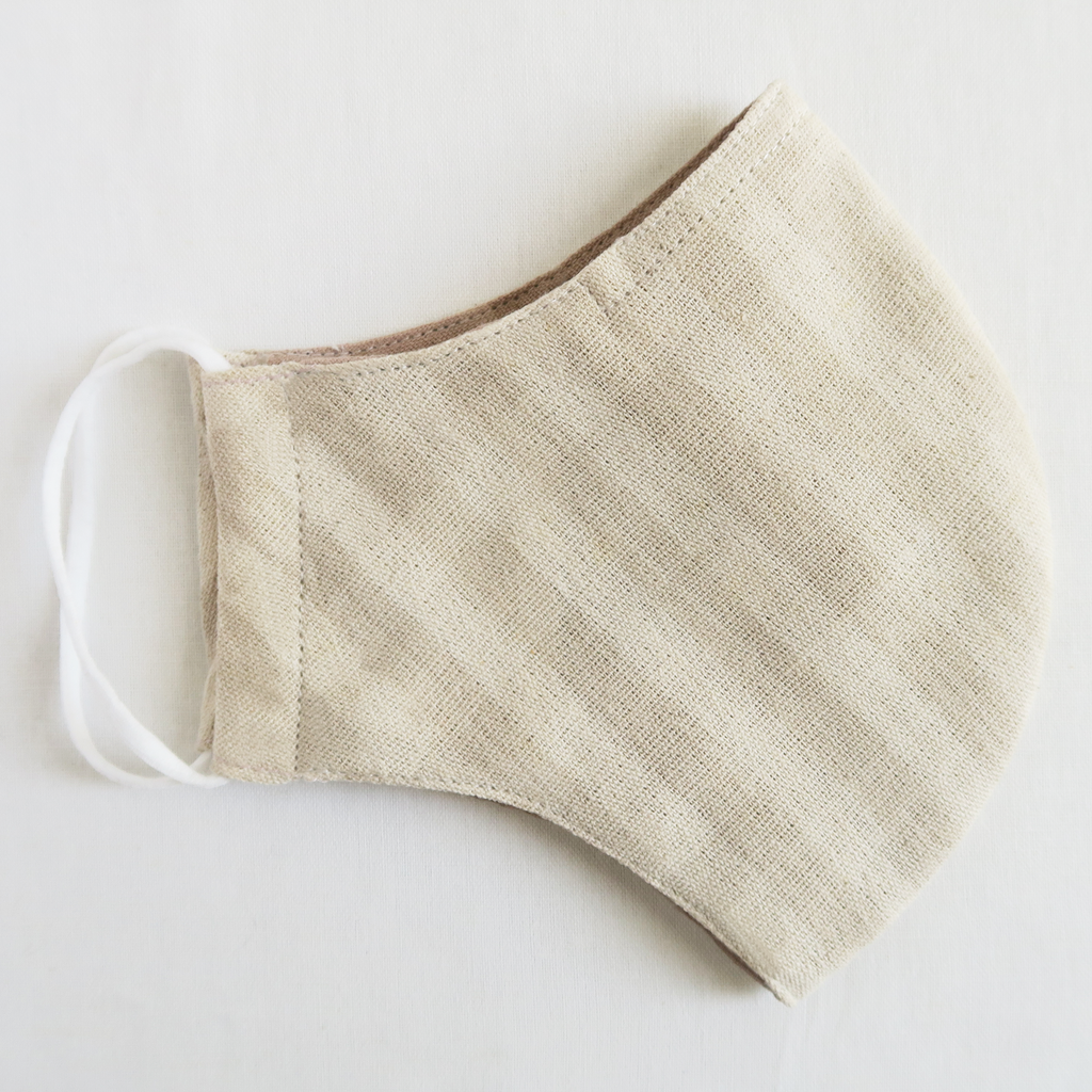 "ត ""Ta"" Naturally Dyed Cream Gingham Unisex Cotton Mask"