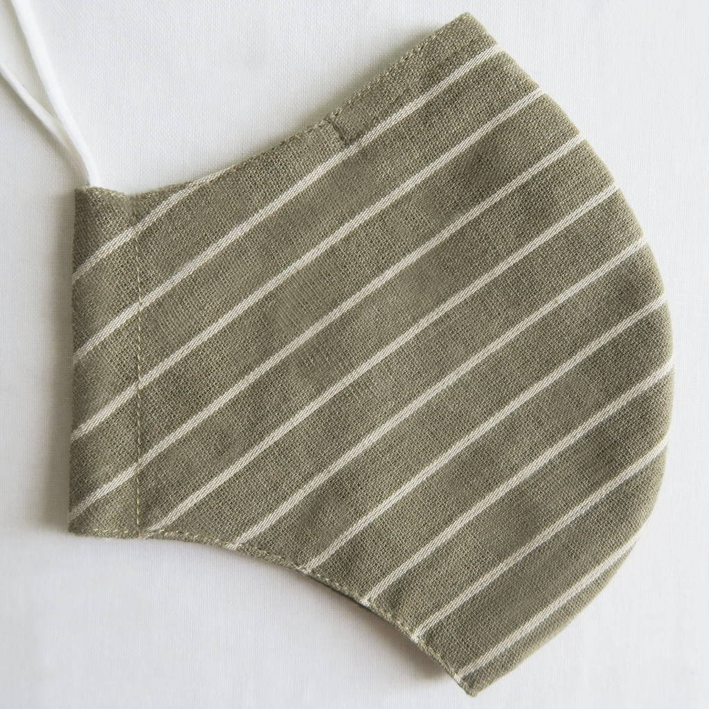 "ប ""Pa"" Naturally Dyed Green Striped Unisex Cotton Mask"