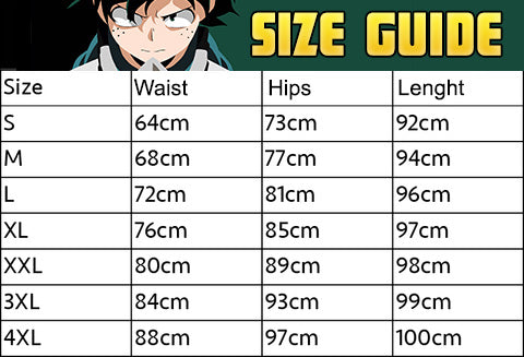my hero academia leggings size guide