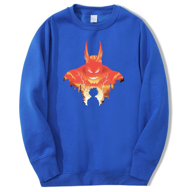 all might blue sweatshirt