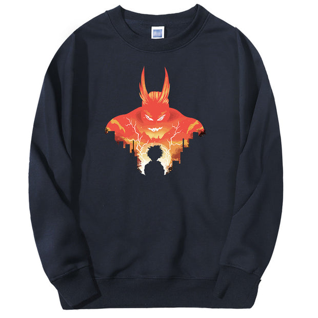 all might dark blue sweatshirt