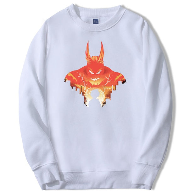 all might white sweatshirt
