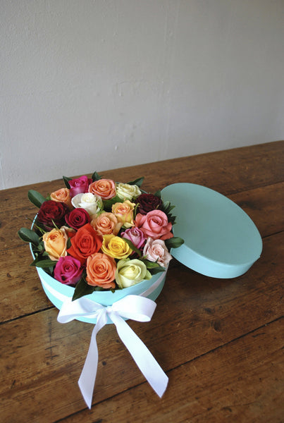 Pretty Roses in Tiffany Blue Box