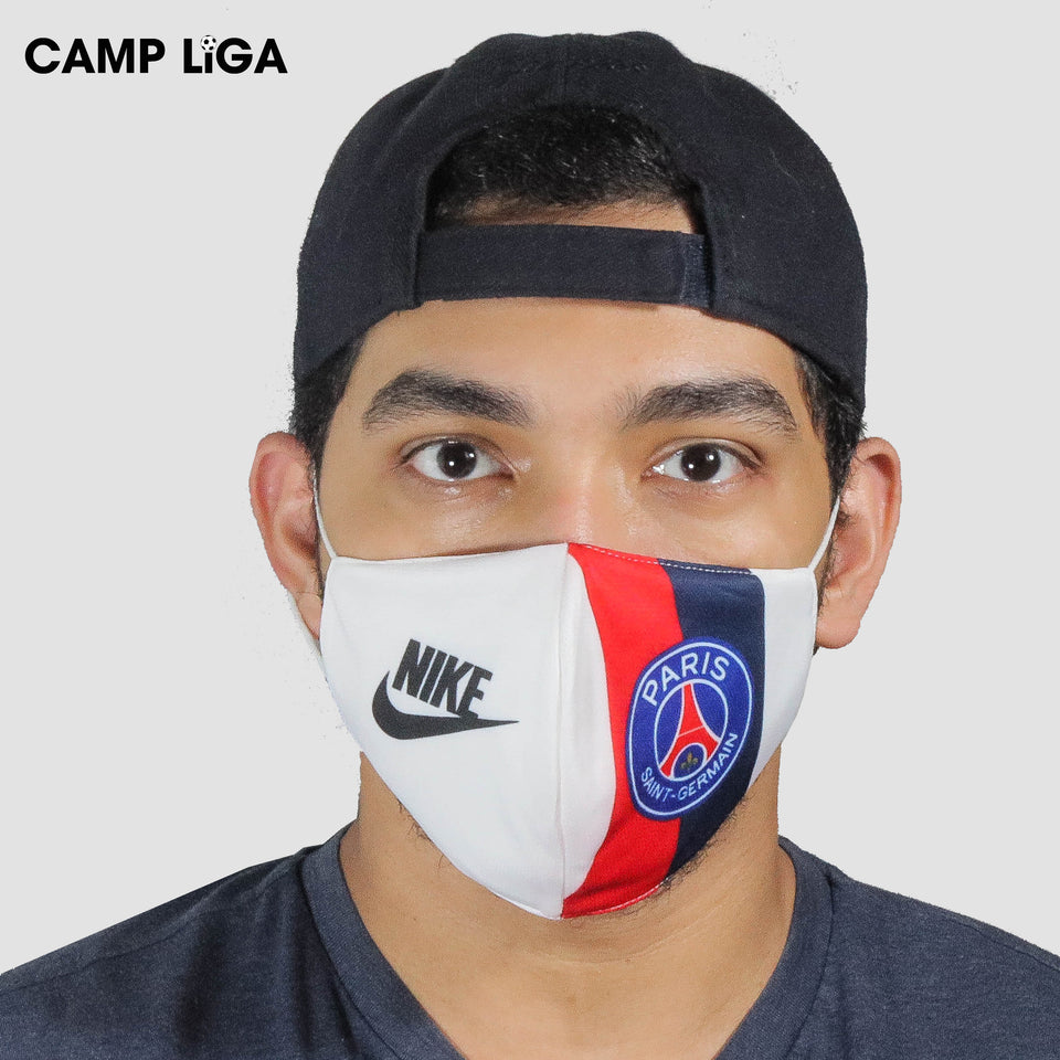 Paris Saint Germain White Reusable Face Mask Camp Liga
