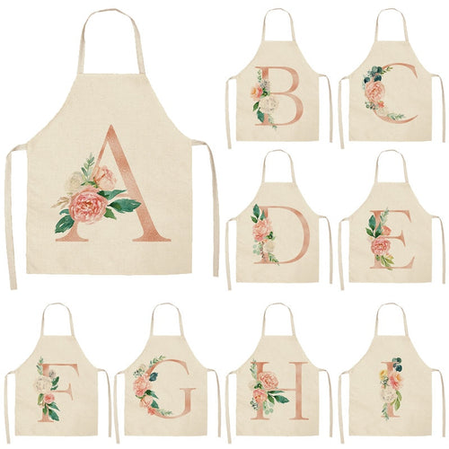 Pink Letter Flower Kitchen Aprons