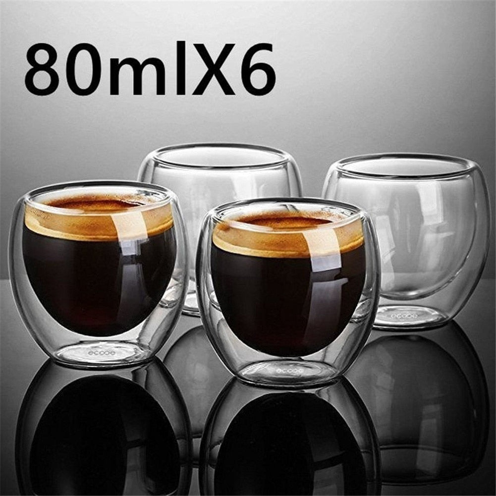 Heat-Resistant Double Wall Glass Espresso Coffee Cup