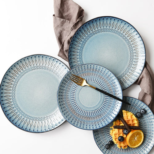Blue-Gray Geometric Ceramic Tableware