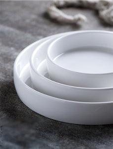 White Round Porcelain Serving Plate