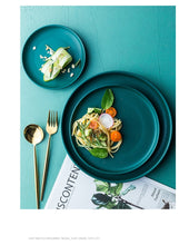 Load image into Gallery viewer, Nordic Green Matte Ceramic Plate