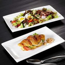 "Load image into Gallery viewer, 2-Piece Ivory White Porcelain Plate Set with 11"" & 13.25"" Rectangular Plate"