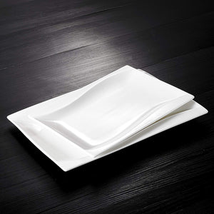 "2-Piece Ivory White Porcelain Plate Set with 11"" & 13.25"" Rectangular Plate"