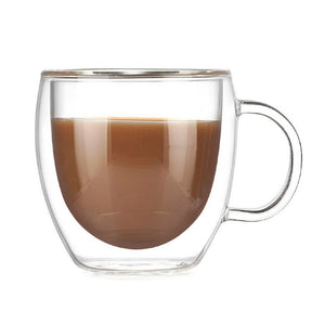 Double Wall Coffee and Tea Glass Cup With Handle