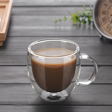 Load image into Gallery viewer, Double Wall Coffee and Tea Glass Cup With Handle